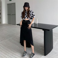 skirt Summer 2021 S. M, l, average size Black and white plaid, black gray plaid, white dovetail, black dovetail Mid length dress commute High waist Irregular Type A 18-24 years old 30% and below other other Pocket, asymmetric, button Korean version