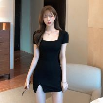 Dress Summer 2021 black Average size Short skirt singleton  Short sleeve commute square neck High waist Solid color A-line skirt routine 18-24 years old Type A Korean version 30% and below other other