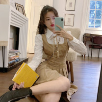 Dress Autumn 2020 Picture color S, M Short skirt singleton  Long sleeves commute Polo collar High waist Pleated skirt shirt sleeve 18-24 years old Type A Korean version Stitching, bows 30% and below other other