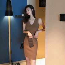 Dress Autumn 2020 Khaki, black Average size Short skirt singleton  Sleeveless commute V-neck High waist Solid color Socket other Others 18-24 years old Type A Korean version 30% and below other other