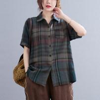 shirt pagoda sleeve Button cotton 51% (inclusive) - 70% (inclusive) Medium and long term Summer 2021 Short sleeve commute stand collar Single row multi button Hand painted literature L [90-120 Jin], XL [120-135 Jin], 2XL [135-150 Jin], 3XL [150-165 Jin], 4XL [165-180 Jin], 5XL [180-200 Jin]