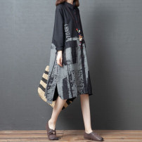 Dress Autumn 2020 black L [95-125 Jin], XL [125-150 Jin], 2XL [150-175 Jin] Mid length dress singleton  Long sleeves commute Polo collar Loose waist Abstract pattern Single breasted Irregular skirt routine Type A Korean version Pocket, button, print 51% (inclusive) - 70% (inclusive) other cotton