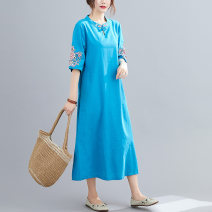 Dress Summer 2021 Gray, green, purple, blue M [95-120 kg], l [120-135 kg], XL [135-150 Jin], 2XL [150-170 Jin] Mid length dress singleton  elbow sleeve commute stand collar Loose waist Decor A button A-line skirt routine Others Type A ethnic style Embroidery 51% (inclusive) - 70% (inclusive) other