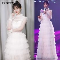 Dress / evening wear Wedding, adulthood, party, company annual meeting, performance S,M,L white Sweet longuette middle-waisted Summer 2021 Fluffy skirt Netting Long sleeves flower FROTTV pagoda sleeve