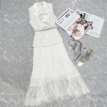 Dress Summer 2021 white S,M,L longuette singleton  Sleeveless street tailored collar middle-waisted Socket A-line skirt routine Others 25-29 years old Type A Duanshang 51% (inclusive) - 70% (inclusive) other Europe and America