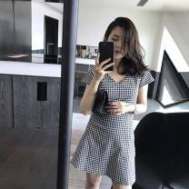 Dress Summer 2020 Black and white S,M,L,XL,2XL Short skirt singleton  Short sleeve commute V-neck High waist lattice Socket A-line skirt 18-24 years old Type A Retro 71% (inclusive) - 80% (inclusive)