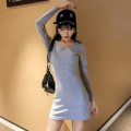 Dress Autumn of 2019 Grey black Average size Short skirt singleton  Long sleeves commute Crew neck High waist Solid color Socket A-line skirt routine 25-29 years old Type A Ricky show Korean version R131 More than 95% knitting cotton Cotton 95% polyurethane elastic fiber (spandex) 5%