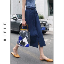 skirt Spring 2020 S,M,L Khaki, ginger, navy Mid length dress commute High waist A-line skirt Solid color Type A 51% (inclusive) - 70% (inclusive) other cotton Lace up Simplicity