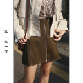 skirt Spring 2020 S,M,L,XL Army green, black Short skirt commute High waist A-line skirt Solid color Type A 31% (inclusive) - 50% (inclusive) other other Pocket, button, zipper Retro