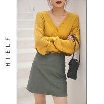 skirt Spring 2020 S,M,L Black, khaki, forest green Short skirt commute High waist A-line skirt Solid color Type A 31% (inclusive) - 50% (inclusive) other PU Korean version