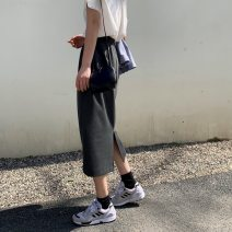 skirt Spring of 2019 S,M,L Black, dark grey Mid length dress commute Natural waist other Solid color Type H 71% (inclusive) - 80% (inclusive) cotton Korean version 201g / m ^ 2 (including) - 250G / m ^ 2 (including)