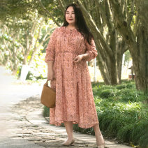 Women's large Spring 2021 Orange (in stock) + Recommend to enjoy priority delivery) Large L Large XL Large 2XL large 3XL large 4XL large 5XL Dress singleton  Sweet Self cultivation moderate Socket Long sleeves Plants and flowers stand collar fold Wrap sleeves 21A054 Merry Inn  pocket Medium length