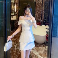 Dress Spring 2021 Black, white S,M,L,XL Middle-skirt singleton  Short sleeve commute One word collar High waist Solid color zipper Cake skirt routine Hanging neck style 25-29 years old Type A Betterls / vertical decoration Korean version Asymmetric, zipper D0011 71% (inclusive) - 80% (inclusive)