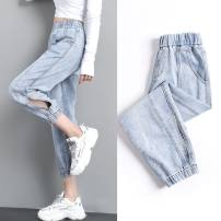 Jeans Summer 2021 Black grey [eight], blue [eight], black grey [seven], blue [seven] S 82-96 kg, m 96-114 kg, l 114-124 kg, XL 124-134 kg, 2XL 134-144 kg Cropped Trousers High waist Haren pants routine 18-24 years old Make old, wash and whiten Thin denim light colour Other / other