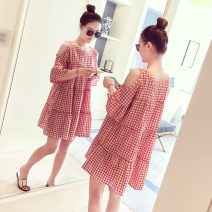 Dress Summer 2021 Black and white, red and white M,L,XL,2XL,3XL,4XL Short skirt singleton  Short sleeve commute Crew neck Loose waist lattice Socket A-line skirt pagoda sleeve 18-24 years old Type A Korean version 31% (inclusive) - 50% (inclusive) other cotton