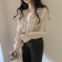 shirt Apricot S,M,L,XL Spring 2021 cotton 51% (inclusive) - 70% (inclusive) Long sleeves commute Regular square neck Single row multi button pagoda sleeve Solid color 18-24 years old Straight cylinder Korean version Gouhua hollow, lace, three-dimensional decoration polyester cotton