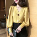 shirt Yellow, apricot, pink S,M,L,XL,2XL Spring 2021 polyester fiber 81% (inclusive) - 90% (inclusive) Long sleeves commute Regular V-neck Socket bishop sleeve Solid color 18-24 years old Straight cylinder Korean version Synthetic fiber