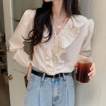 shirt Apricot Average size Spring 2021 polyester fiber 31% (inclusive) - 50% (inclusive) Long sleeves commute Regular V-neck Single row multi button shirt sleeve Solid color 18-24 years old Straight cylinder Korean version man-made fiber