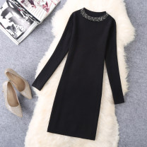 Dress Autumn of 2019 black M,L,XL Mid length dress singleton  Long sleeves commute other Solid color Socket One pace skirt routine 25-29 years old Type H Korean version Nail bead A5608 30% and below knitting wool
