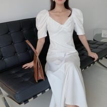 Dress Summer 2021 White, black S,M,L longuette singleton  Short sleeve commute V-neck Solid color other other other Others 18-24 years old Korean version 71% (inclusive) - 80% (inclusive) other other
