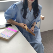 Dress Summer 2021 Apricot, light blue, dark blue Average size Miniskirt singleton  Short sleeve commute other Loose waist Solid color Single breasted other puff sleeve Others 18-24 years old Korean version 71% (inclusive) - 80% (inclusive) other cotton