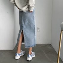 skirt Summer 2021 S,M,L wathet longuette Versatile High waist other other Type A 18-24 years old 81% (inclusive) - 90% (inclusive) Denim polyester fiber