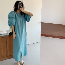 Dress Summer 2021 Blue, black Average size Mid length dress singleton  Short sleeve commute Crew neck Loose waist Solid color Socket puff sleeve 18-24 years old Type H Korean version 71% (inclusive) - 80% (inclusive)