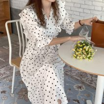 Dress Summer 2021 White, blue Average size Mid length dress singleton  Short sleeve commute V-neck Dot Socket A-line skirt puff sleeve Others 18-24 years old Korean version 71% (inclusive) - 80% (inclusive) other other