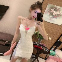 Dress Spring 2021 White, black Average size Short skirt singleton  Sleeveless commute V-neck Solid color Socket Pencil skirt camisole 18-24 years old Type A Other / other Korean version Lace 71% (inclusive) - 80% (inclusive) Lace