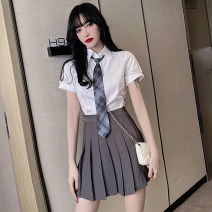 Fashion suit Summer 2021 S,M,L Shirt with tie, shirt with tie, three piece grey skirt 18-25 years old 51% (inclusive) - 70% (inclusive) cotton