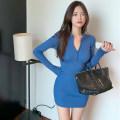 Dress Spring 2021 Sapphire, light blue, dark gray, black Average size Middle-skirt singleton  Long sleeves commute V-neck High waist Solid color other Type H Korean version Splicing 51% (inclusive) - 70% (inclusive) polyester fiber