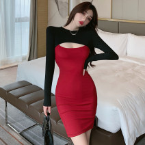 Dress Spring 2021 Apricot, blue, Burgundy S,M,L Short skirt singleton  Long sleeves commute Crew neck High waist Solid color Socket One pace skirt routine 25-29 years old Type H Korean version Splicing 51% (inclusive) - 70% (inclusive) polyester fiber