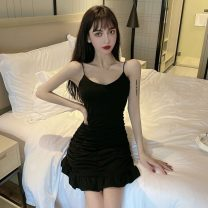 Dress Summer 2021 black Average size Short skirt singleton  Sleeveless commute V-neck High waist Solid color Socket A-line skirt camisole Simplicity Open back, stitching 51% (inclusive) - 70% (inclusive) cotton