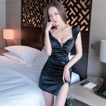 Dress Summer 2021 Red, blue, black S,M,L,XL Short skirt singleton  Sleeveless commute V-neck High waist Solid color Socket One pace skirt routine camisole 18-24 years old Type H Korean version fold 51% (inclusive) - 70% (inclusive) brocade polyester fiber
