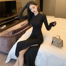 Dress Spring 2021 black S,M,L Mid length dress singleton  Long sleeves commute Crew neck High waist Solid color One pace skirt Type H Korean version Splicing 51% (inclusive) - 70% (inclusive) polyester fiber