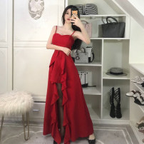 Dress Summer 2021 Red, black S,M,L longuette singleton  Sleeveless commute One word collar High waist Solid color Socket Ruffle Skirt camisole 18-24 years old Type A Other / other Korean version Ruffles, asymmetric 31% (inclusive) - 50% (inclusive) polyester fiber