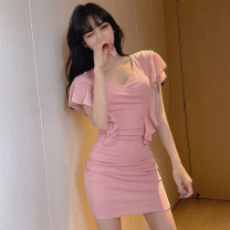 Dress Summer 2021 Black for butterflies, pink for butterflies S,M,L,XL Short skirt singleton  Short sleeve commute V-neck middle-waisted Solid color Socket Pencil skirt routine Others 18-24 years old T-type Korean version Lotus leaf edge 31% (inclusive) - 50% (inclusive) Chiffon cotton