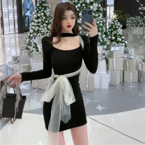Dress Spring 2021 black S,M,L Short skirt singleton  Long sleeves square neck High waist Solid color One pace skirt Type H 51% (inclusive) - 70% (inclusive) polyester fiber