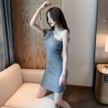 Dress Summer 2021 Grey, black, apricot (breast patch) Average size Short skirt singleton  Short sleeve commute other High waist Solid color Socket other other Others 18-24 years old Other / other Korean version 31% (inclusive) - 50% (inclusive) other