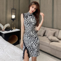 Dress Spring 2021 black S,M,L Short skirt singleton  Short sleeve commute stand collar High waist Zebra pattern One pace skirt Type H Korean version Splicing 51% (inclusive) - 70% (inclusive) polyester fiber
