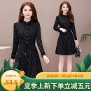 Dress Autumn 2020 black M,L,XL,2XL,3XL,4XL,5XL Middle-skirt singleton  Long sleeves commute Crew neck middle-waisted Decor other other routine Others 35-39 years old Type A Korean version 81% (inclusive) - 90% (inclusive) other polyester fiber