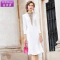Dress Spring 2021 White black S M L XL 2XL 3XL 4XL Mid length dress singleton  Long sleeves commute Half high collar middle-waisted other zipper A-line skirt routine Others 30-34 years old Type H FX.&Mongyi lady Stitching zipper FX9QL26980 91% (inclusive) - 95% (inclusive) polyester fiber