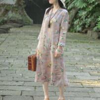 Dress Spring 2021 Mid length dress singleton  Long sleeves commute V-neck Loose waist Decor Socket A-line skirt routine Type A On Jiangnan ethnic style Button, print, ramie More than 95% hemp