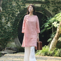 Dress Summer of 2018 White, blue, pink Average size Mid length dress singleton  Nine point sleeve commute Crew neck Loose waist Solid color Socket A-line skirt routine Type A On Jiangnan Retro Button, pocket More than 95% hemp