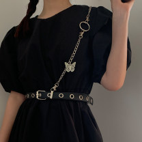 Belt / belt / chain Pu (artificial leather) Separate belt, separate chain, belt + Chain female straps leisure time Single loop Youth, youth Pin buckle bow alloy chain unclecm