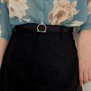 Belt / belt / chain Pu (artificial leather) Black, brown female belt grace Single loop Youth, youth Geometric pattern 2.5cm alloy Uncle cimao
