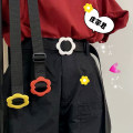Belt / belt / chain canvas White, red, yellow female belt Simplicity Single loop Youth, youth Flower design 2.5cm unclecm