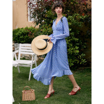 Dress Spring 2021 blue XS,S,M,L,XL longuette singleton  Long sleeves commute V-neck High waist Decor Socket Big swing Lotus leaf sleeve Type X Pig house / gentle pig Retro Ruffles, folds, stitches, zippers, prints PPH95SQ704 More than 95% Chiffon polyester fiber