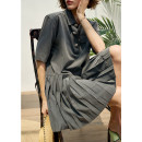 Dress Spring 2021 grey 34,36,38 Short skirt singleton  Short sleeve Sweet other High waist Solid color Socket Pleated skirt routine Others 18-24 years old Type H Pig house / gentle pig GA2103CQ211 More than 95% other polyester fiber college