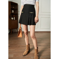 skirt Spring 2021 S,M,L,XL Black, white Short skirt commute High waist A-line skirt Solid color Type A 18-24 years old CE2102CQ641 71% (inclusive) - 80% (inclusive) other Pig house / gentle pig polyester fiber lady
